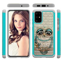 Sweet Gray Owl Studded Rhinestone Bling Diamond Shock Absorbing Hybrid Defender Rugged Phone Case Cover for Samsung Galaxy S20 Plus / S11