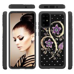 Peacock Flower Studded Rhinestone Bling Diamond Shock Absorbing Hybrid Defender Rugged Phone Case Cover for Samsung Galaxy S20 Plus / S11