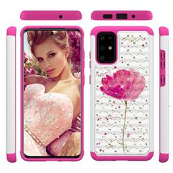 Watercolor Studded Rhinestone Bling Diamond Shock Absorbing Hybrid Defender Rugged Phone Case Cover for Samsung Galaxy S20 Plus / S11