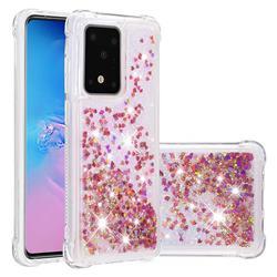 Dynamic Liquid Glitter Sand Quicksand TPU Case for Samsung Galaxy S20 Plus / S11 - Rose Gold Love Heart