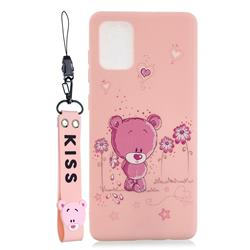 Pink Flower Bear Soft Kiss Candy Hand Strap Silicone Case for Samsung Galaxy S20 Plus / S11