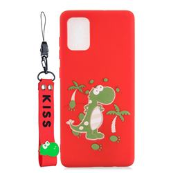 Red Dinosaur Soft Kiss Candy Hand Strap Silicone Case for Samsung Galaxy S20 Plus / S11