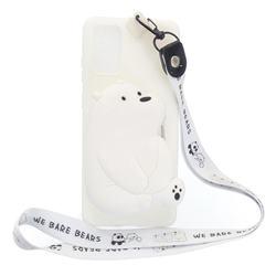 White Polar Bear Neck Lanyard Zipper Wallet Silicone Case for Samsung Galaxy S20 Plus / S11