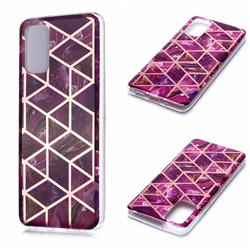 Purple Rhombus Galvanized Rose Gold Marble Phone Back Cover for Samsung Galaxy S20 Plus / S11