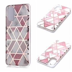 Pink Rhombus Galvanized Rose Gold Marble Phone Back Cover for Samsung Galaxy S20 Plus / S11