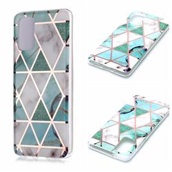 Green White Galvanized Rose Gold Marble Phone Back Cover for Samsung Galaxy S20 Plus / S11