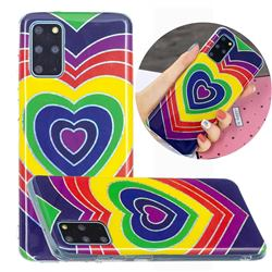 Rainbow Heart Painted Galvanized Electroplating Soft Phone Case Cover for Samsung Galaxy S20 Plus