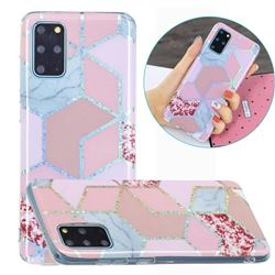 Pink Marble Painted Galvanized Electroplating Soft Phone Case Cover for Samsung Galaxy S20 Plus