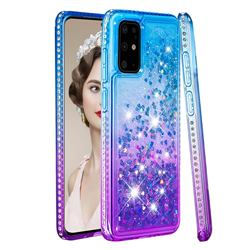 Diamond Frame Liquid Glitter Quicksand Sequins Phone Case for Samsung Galaxy S20 Plus - Blue Purple