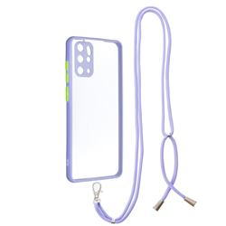 Necklace Cross-body Lanyard Strap Cord Phone Case Cover for Samsung Galaxy S20 Plus - Purple