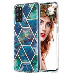 Blue Green Marble Pattern Galvanized Electroplating Protective Case Cover for Samsung Galaxy S20 Plus