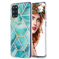 Blue Sea Marble Pattern Galvanized Electroplating Protective Case Cover for Samsung Galaxy S20 Plus
