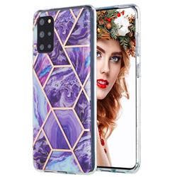 Purple Gagic Marble Pattern Galvanized Electroplating Protective Case Cover for Samsung Galaxy S20 Plus