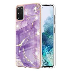Fashion Purple Electroplated Gold Frame 2.0 Thickness Plating Marble IMD Soft Back Cover for Samsung Galaxy S20 Plus