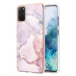 Rose Gold Dancing Electroplated Gold Frame 2.0 Thickness Plating Marble IMD Soft Back Cover for Samsung Galaxy S20 Plus