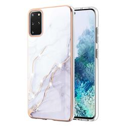 White Dreaming Electroplated Gold Frame 2.0 Thickness Plating Marble IMD Soft Back Cover for Samsung Galaxy S20 Plus