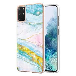 Green Golden Electroplated Gold Frame 2.0 Thickness Plating Marble IMD Soft Back Cover for Samsung Galaxy S20 Plus