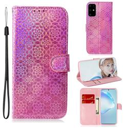Laser Circle Shining Leather Wallet Phone Case for Samsung Galaxy S20 Plus / S11 - Pink