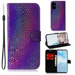 Laser Circle Shining Leather Wallet Phone Case for Samsung Galaxy S20 Plus / S11 - Purple