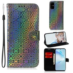 Laser Circle Shining Leather Wallet Phone Case for Samsung Galaxy S20 Plus / S11 - Silver