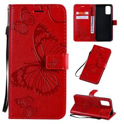 Embossing 3D Butterfly Leather Wallet Case for Samsung Galaxy S20 Plus / S11 - Red