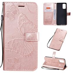 Embossing 3D Butterfly Leather Wallet Case for Samsung Galaxy S20 Plus / S11 - Rose Gold