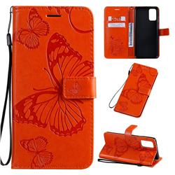 Embossing 3D Butterfly Leather Wallet Case for Samsung Galaxy S20 Plus / S11 - Orange