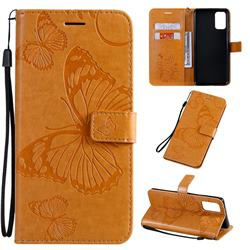 Embossing 3D Butterfly Leather Wallet Case for Samsung Galaxy S20 Plus / S11 - Yellow