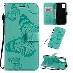 Embossing 3D Butterfly Leather Wallet Case for Samsung Galaxy S20 Plus / S11 - Green