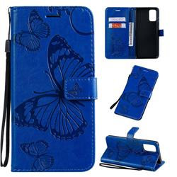 Embossing 3D Butterfly Leather Wallet Case for Samsung Galaxy S20 Plus / S11 - Blue