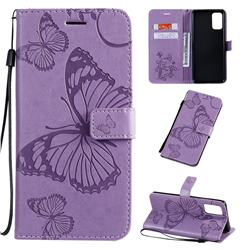 Embossing 3D Butterfly Leather Wallet Case for Samsung Galaxy S20 Plus / S11 - Purple