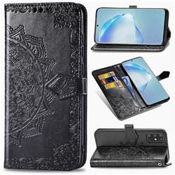 Embossing Imprint Mandala Flower Leather Wallet Case for Samsung Galaxy S20 Plus / S11 - Black