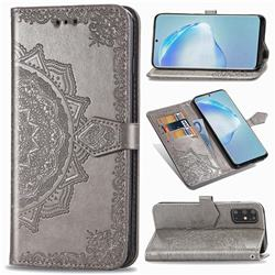 Embossing Imprint Mandala Flower Leather Wallet Case for Samsung Galaxy S20 Plus / S11 - Gray