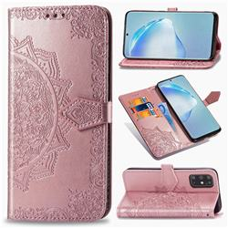 Embossing Imprint Mandala Flower Leather Wallet Case for Samsung Galaxy S20 Plus / S11 - Rose Gold