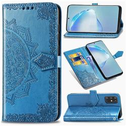 Embossing Imprint Mandala Flower Leather Wallet Case for Samsung Galaxy S20 Plus / S11 - Blue