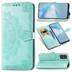 Embossing Imprint Mandala Flower Leather Wallet Case for Samsung Galaxy S20 Plus / S11 - Green