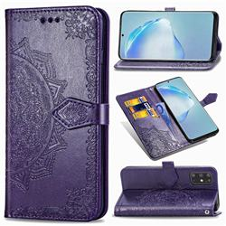 Embossing Imprint Mandala Flower Leather Wallet Case for Samsung Galaxy S20 Plus / S11 - Purple