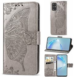 Embossing Mandala Flower Butterfly Leather Wallet Case for Samsung Galaxy S20 Plus / S11 - Gray