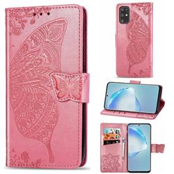 Embossing Mandala Flower Butterfly Leather Wallet Case for Samsung Galaxy S20 Plus / S11 - Pink