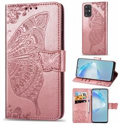 Embossing Mandala Flower Butterfly Leather Wallet Case for Samsung Galaxy S20 Plus / S11 - Rose Gold