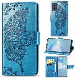 Embossing Mandala Flower Butterfly Leather Wallet Case for Samsung Galaxy S20 Plus / S11 - Blue