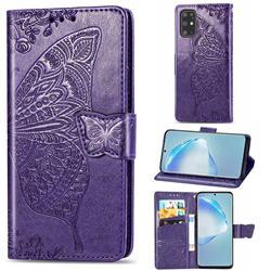 Embossing Mandala Flower Butterfly Leather Wallet Case for Samsung Galaxy S20 Plus / S11 - Dark Purple