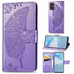 Embossing Mandala Flower Butterfly Leather Wallet Case for Samsung Galaxy S20 Plus / S11 - Light Purple
