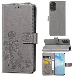 Embossing Imprint Four-Leaf Clover Leather Wallet Case for Samsung Galaxy S20 Plus / S11 - Grey