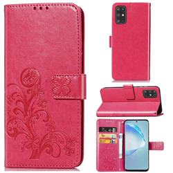 Embossing Imprint Four-Leaf Clover Leather Wallet Case for Samsung Galaxy S20 Plus / S11 - Rose