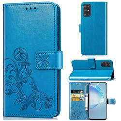 Embossing Imprint Four-Leaf Clover Leather Wallet Case for Samsung Galaxy S20 Plus / S11 - Blue