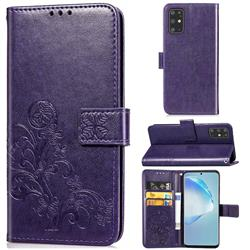 Embossing Imprint Four-Leaf Clover Leather Wallet Case for Samsung Galaxy S20 Plus / S11 - Purple