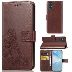 Embossing Imprint Four-Leaf Clover Leather Wallet Case for Samsung Galaxy S20 Plus / S11 - Brown
