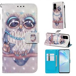 Sweet Gray Owl 3D Painted Leather Wallet Case for Samsung Galaxy S20 Plus / S11