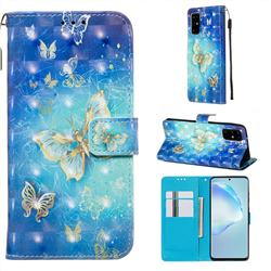 Gold Butterfly 3D Painted Leather Wallet Case for Samsung Galaxy S20 Plus / S11